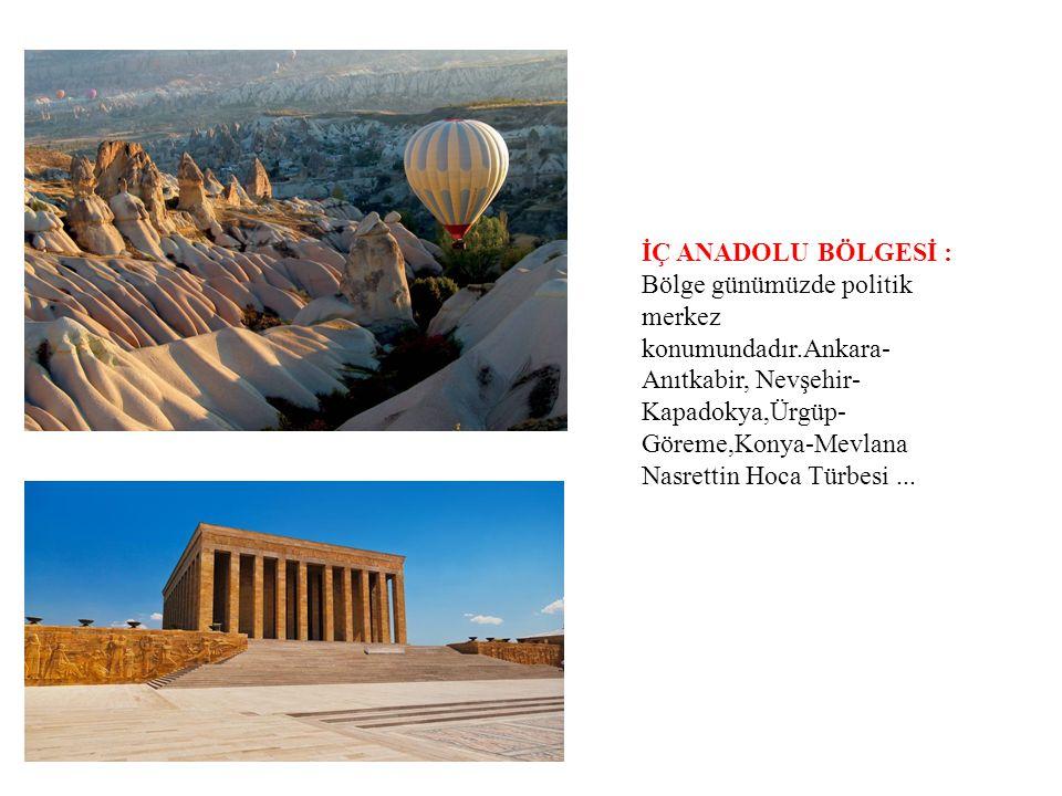 İÇ ANADOLU BÖLGESİ : Bölge günümüzde politik merkez konumundadır.Ankara- Anıtkabir, Nevşehir- Kapadokya,Ürgüp- Göreme,Konya-Mevlana Nasrettin Hoca Tür