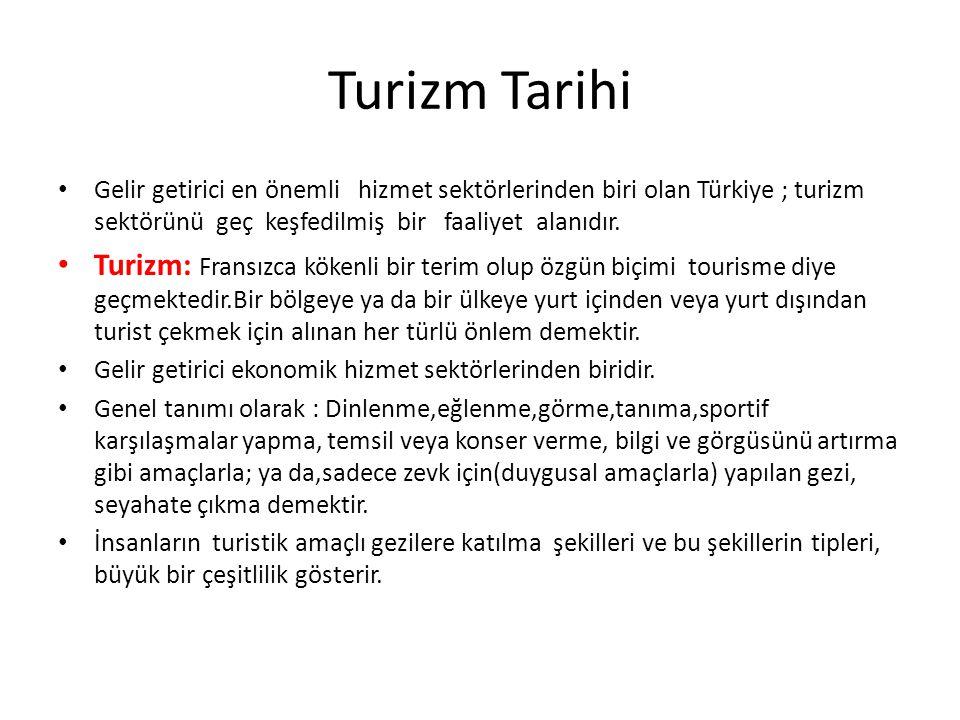 Turizm Tarihi Gelir getirici en önemli hizmet sektörlerinden biri olan Türkiye ; turizm sektörünü geç keşfedilmiş bir faaliyet alanıdır. Turizm: Frans