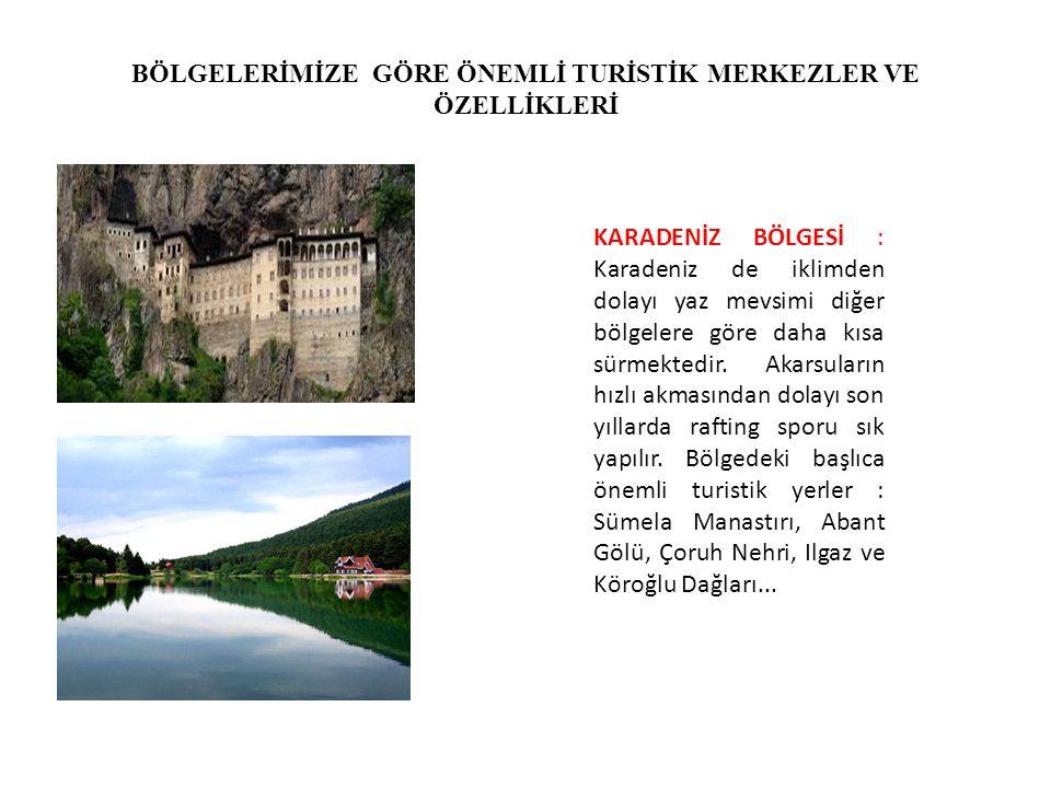 MARMARA BÖLGESİ: Turizm gelirlerimizin en fazla olduğu bölgemizdir.Özellikle de İstanbul'un varlığı.İstanbul tarih cennetidir.Dolmabahçe Sarayı,Topkapı Sarayı, Ayasofya Müzesi,Anadolu ve Rumeli Hisarı,Kız Kulesi,Galata Köprüsü vb,Bursa'daki cami ve türbeler...Çanakkale Truva...
