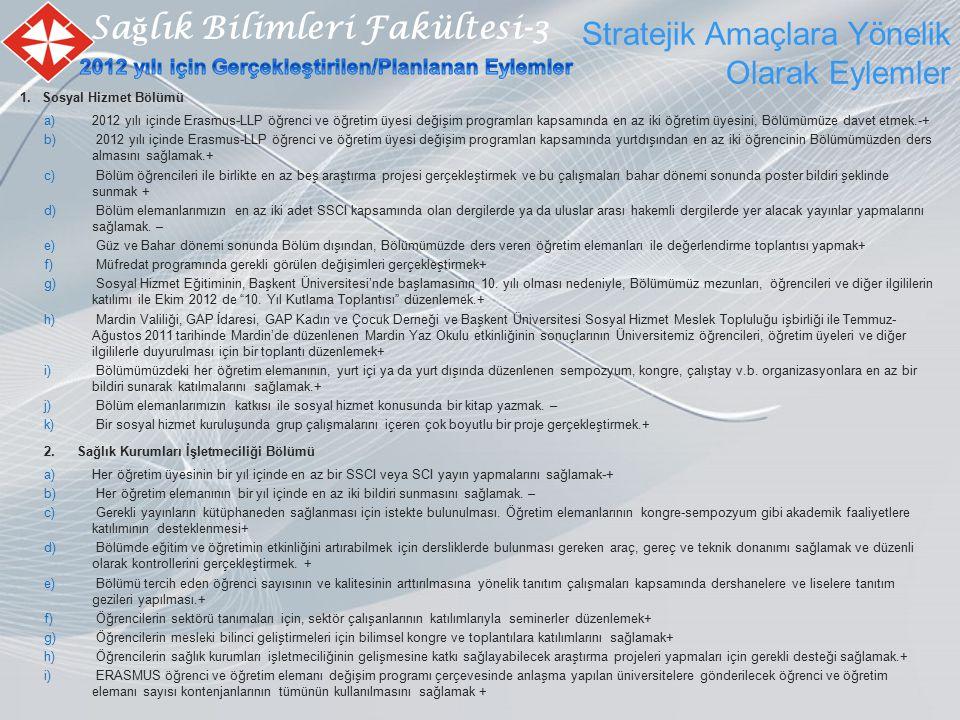 Stratejik Amaçlara Yönelik Olarak Eylemler Sa ğ lık Bilimleri Fakültesi-3