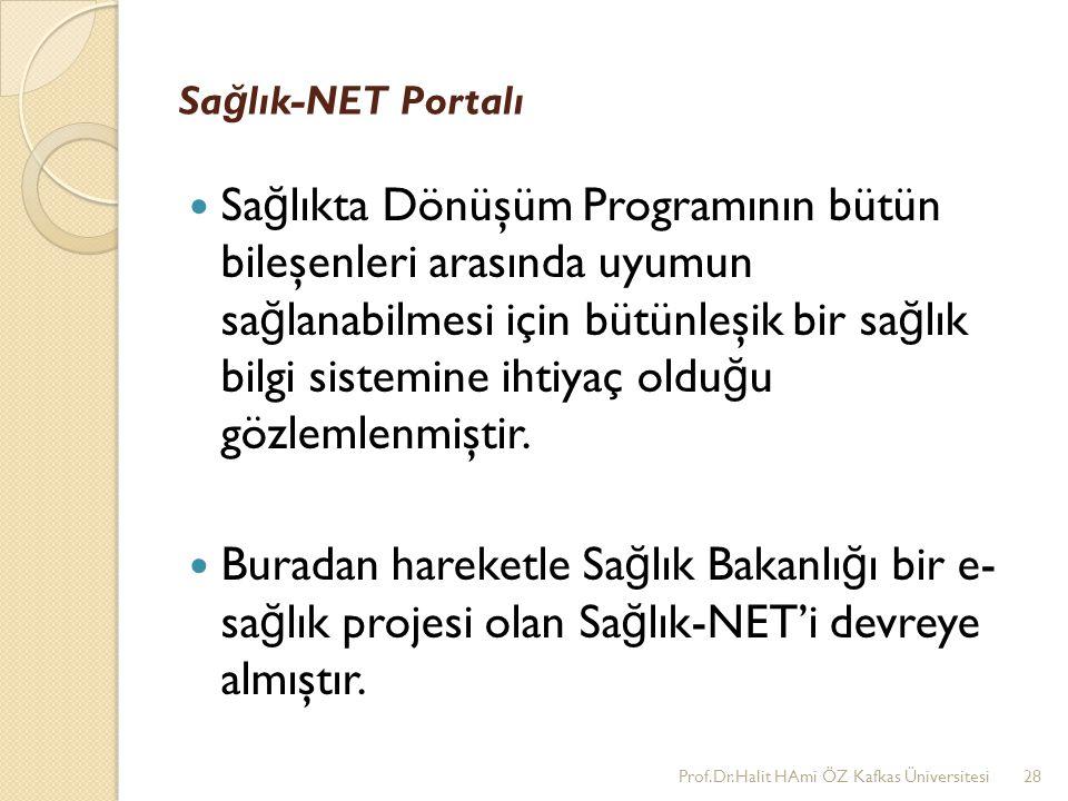 Sa ğ lık-NET Portalı Sa ğ lıkta Dönüşüm Programının bütün bileşenleri arasında uyumun sa ğ lanabilmesi için bütünleşik bir sa ğ lık bilgi sistemine ih