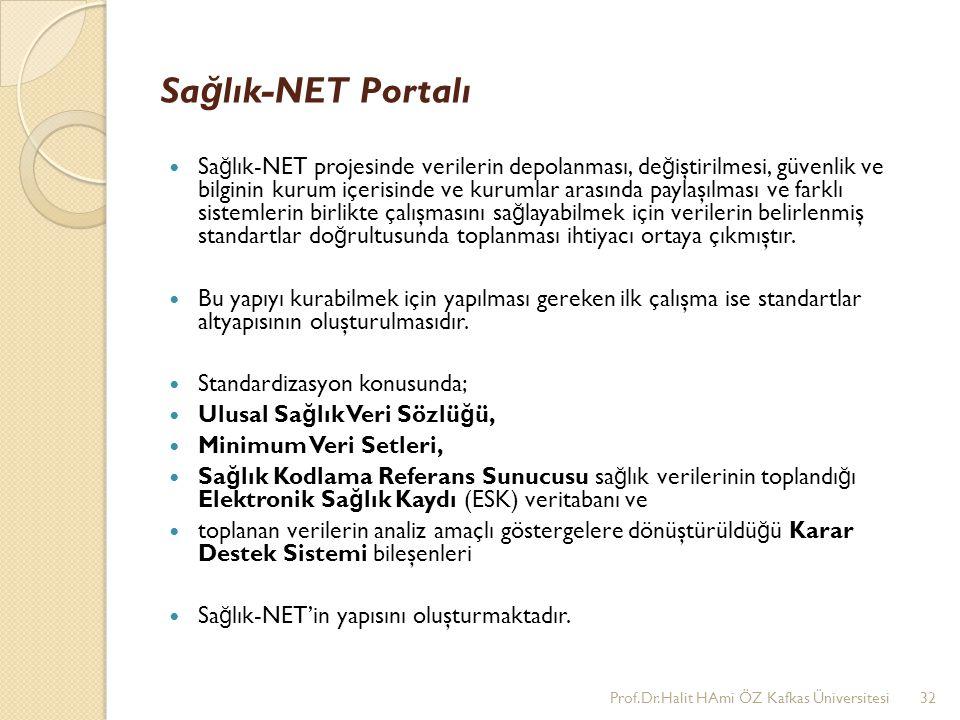 Sa ğ lık-NET Portalı Sa ğ lık-NET projesinde verilerin depolanması, de ğ iştirilmesi, güvenlik ve bilginin kurum içerisinde ve kurumlar arasında payla