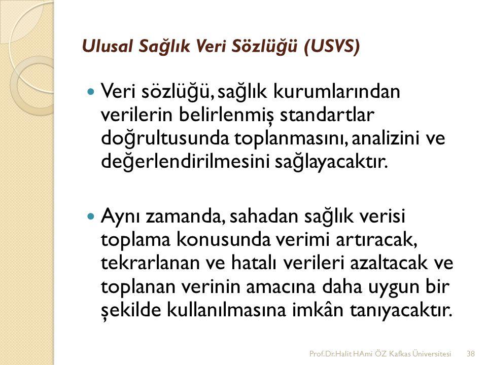 Ulusal Sa ğ lık Veri Sözlü ğ ü (USVS) Veri sözlü ğ ü, sa ğ lık kurumlarından verilerin belirlenmiş standartlar do ğ rultusunda toplanmasını, analizini