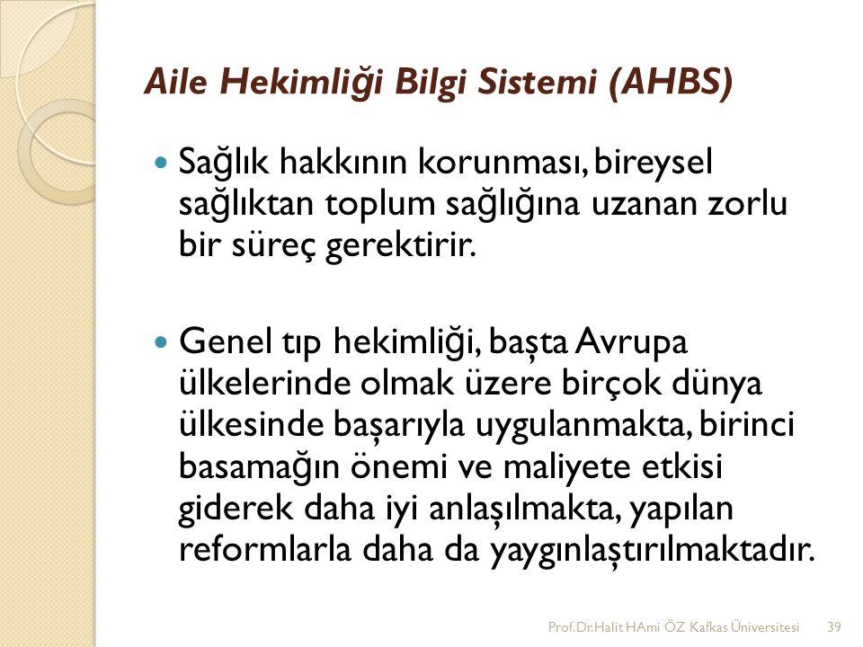 Aile Hekimli ğ i Bilgi Sistemi (AHBS) Sa ğ lık hakkının korunması, bireysel sa ğ lıktan toplum sa ğ lı ğ ına uzanan zorlu bir süreç gerektirir. Genel