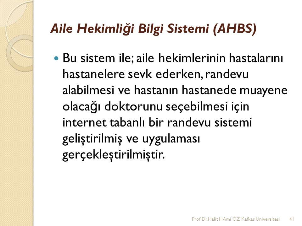 Aile Hekimli ğ i Bilgi Sistemi (AHBS) Bu sistem ile; aile hekimlerinin hastalarını hastanelere sevk ederken, randevu alabilmesi ve hastanın hastanede