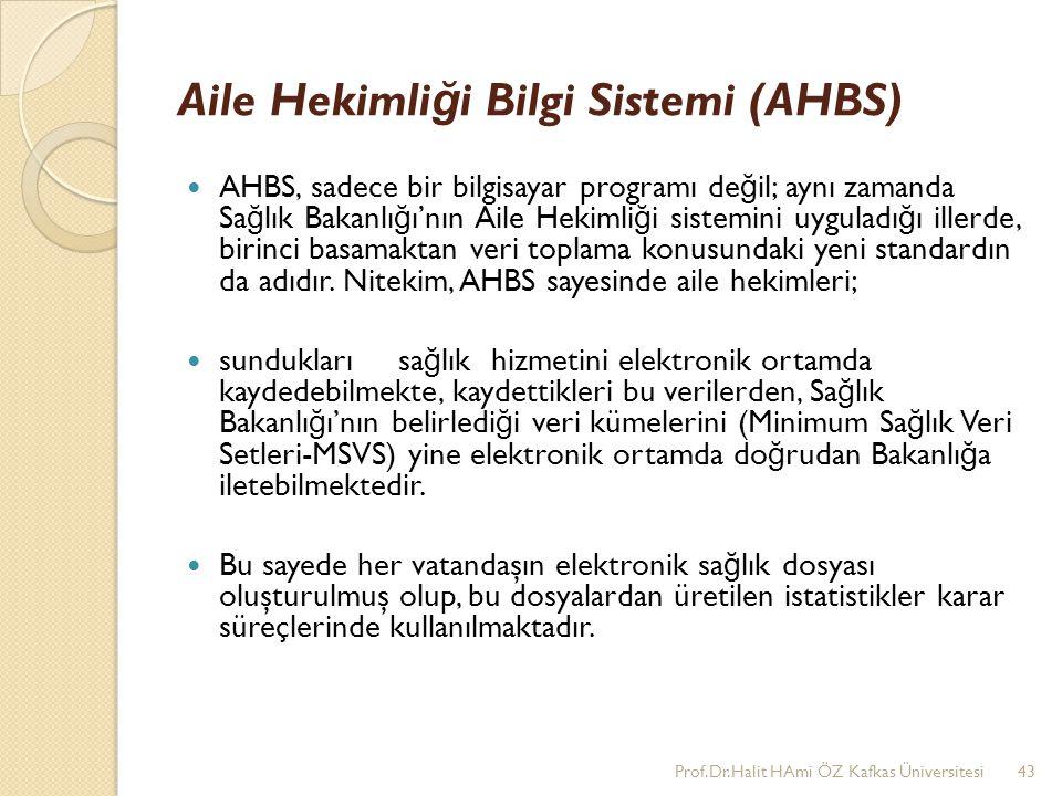 Aile Hekimli ğ i Bilgi Sistemi (AHBS) AHBS, sadece bir bilgisayar programı de ğ il; aynı zamanda Sa ğ lık Bakanlı ğ ı'nın Aile Hekimli ğ i sistemini u
