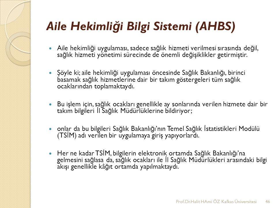 Aile Hekimli ğ i Bilgi Sistemi (AHBS) Aile hekimli ğ i uygulaması, sadece sa ğ lık hizmeti verilmesi sırasında de ğ il, sa ğ lık hizmeti yönetimi süre