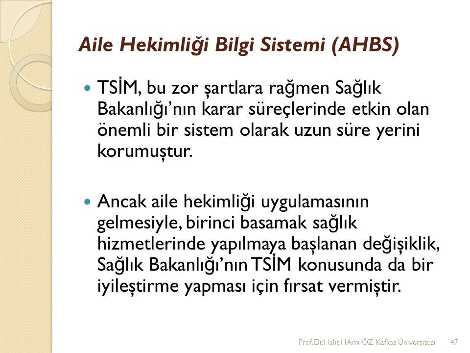Aile Hekimli ğ i Bilgi Sistemi (AHBS) TS İ M, bu zor şartlara ra ğ men Sa ğ lık Bakanlı ğ ı'nın karar süreçlerinde etkin olan önemli bir sistem olarak