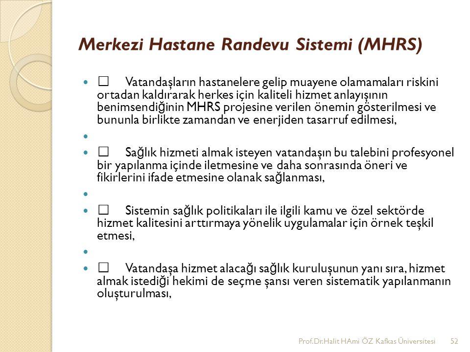 Merkezi Hastane Randevu Sistemi (MHRS) •Vatandaşların hastanelere gelip muayene olamamaları riskini ortadan kaldırarak herkes için kaliteli hizmet anl