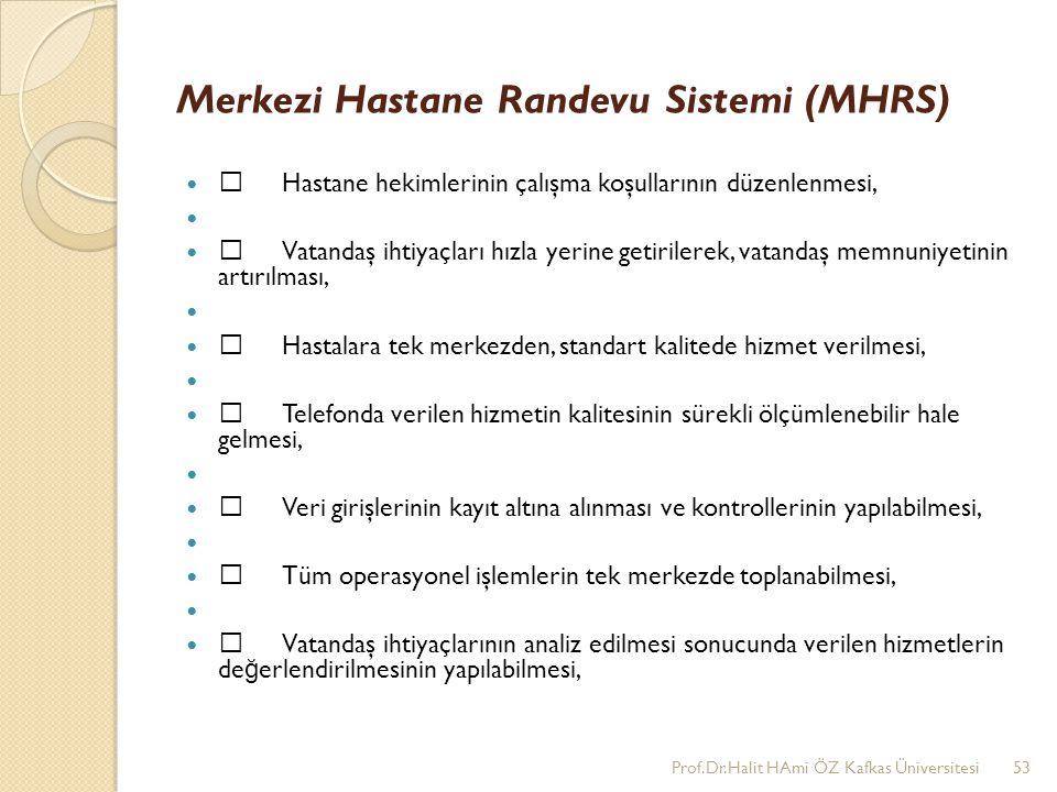 Merkezi Hastane Randevu Sistemi (MHRS) •Hastane hekimlerinin çalışma koşullarının düzenlenmesi, •Vatandaş ihtiyaçları hızla yerine getirilerek, vatand