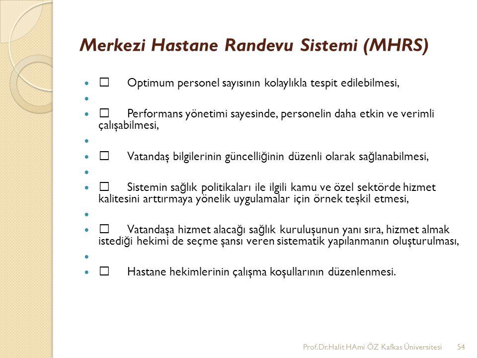 Merkezi Hastane Randevu Sistemi (MHRS) •Optimum personel sayısının kolaylıkla tespit edilebilmesi, •Performans yönetimi sayesinde, personelin daha etk