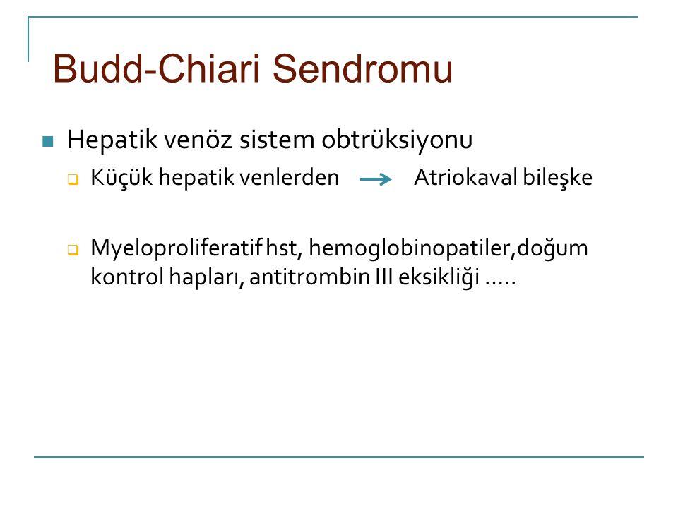 Budd-Chiari Sendromu Hepatik venöz sistem obtrüksiyonu  Küçük hepatik venlerden Atriokaval bileşke  Myeloproliferatif hst, hemoglobinopatiler,doğum