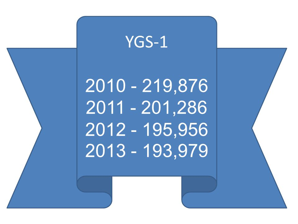 YGS-1 2010 - 219,876 2011 - 201,286 2012 - 195,956 2013 - 193,979