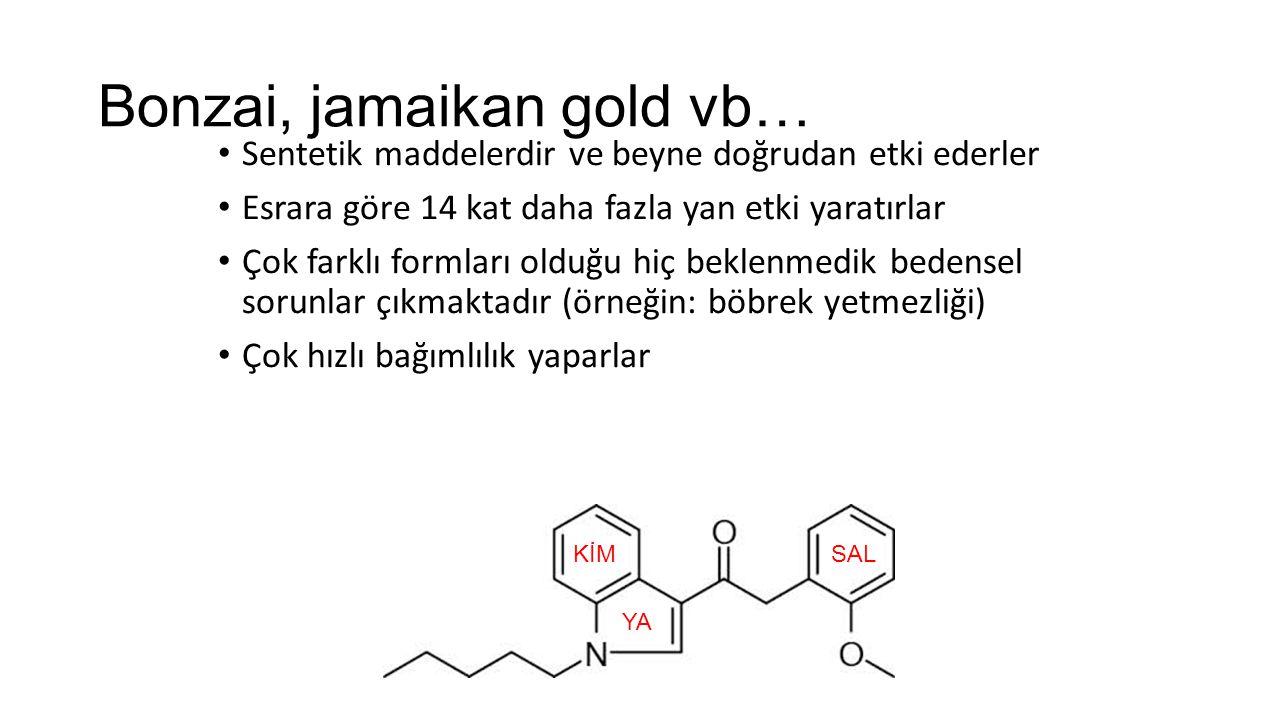 Bonzai, jamaikan gold vb… Sentetik maddelerdir ve beyne doğrudan etki ederler Esrara göre 14 kat daha fazla yan etki yaratırlar Çok farklı formları olduğu hiç beklenmedik bedensel sorunlar çıkmaktadır (örneğin: böbrek yetmezliği) Çok hızlı bağımlılık yaparlar KİM YA SAL