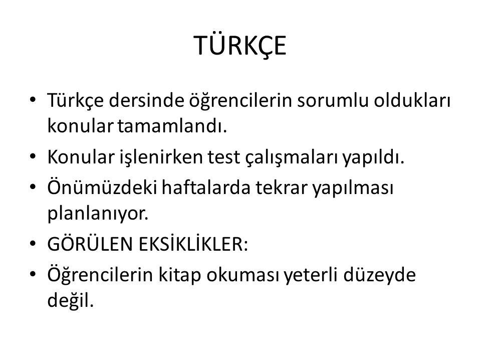 Türkçe dersinde öğrencilerin sorumlu oldukları konular tamamlandı. Konular işlenirken test çalışmaları yapıldı. Önümüzdeki haftalarda tekrar yapılması