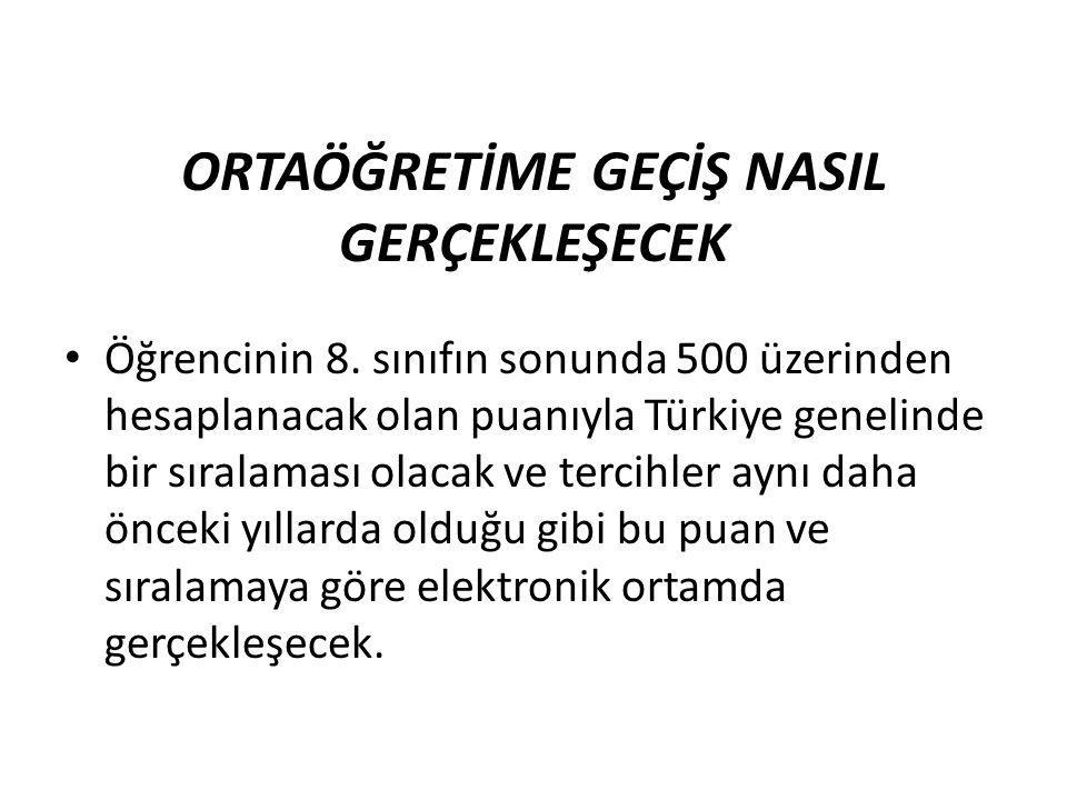 ORTAÖĞRETİME GEÇİŞ NASIL GERÇEKLEŞECEK Öğrencinin 8. sınıfın sonunda 500 üzerinden hesaplanacak olan puanıyla Türkiye genelinde bir sıralaması olacak