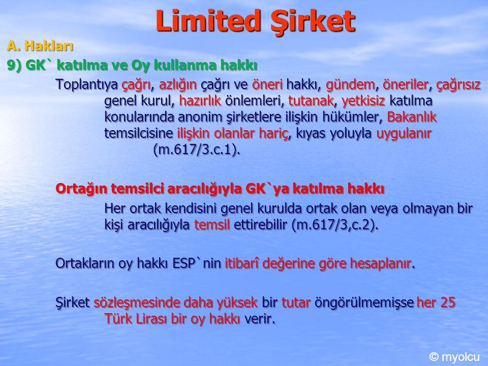 Limited Şirket B.Borçları B.