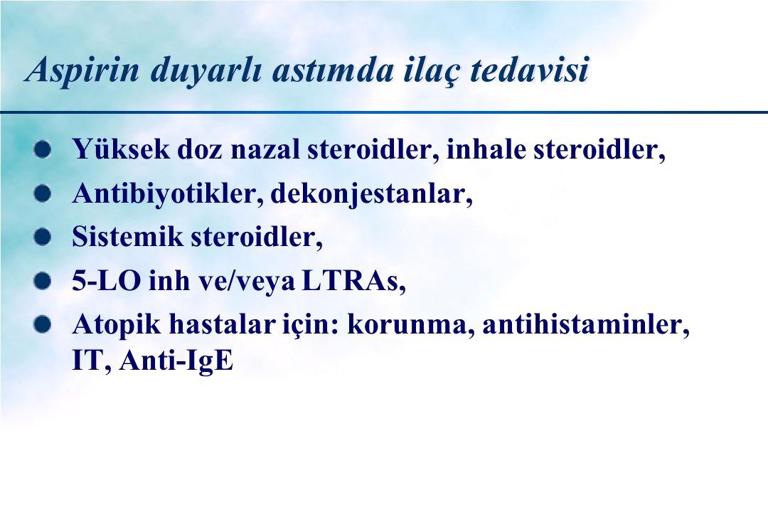 Aspirin duyarlı astımda ilaç tedavisi Yüksek doz nazal steroidler, inhale steroidler, Antibiyotikler, dekonjestanlar, Sistemik steroidler, 5-LO inh ve