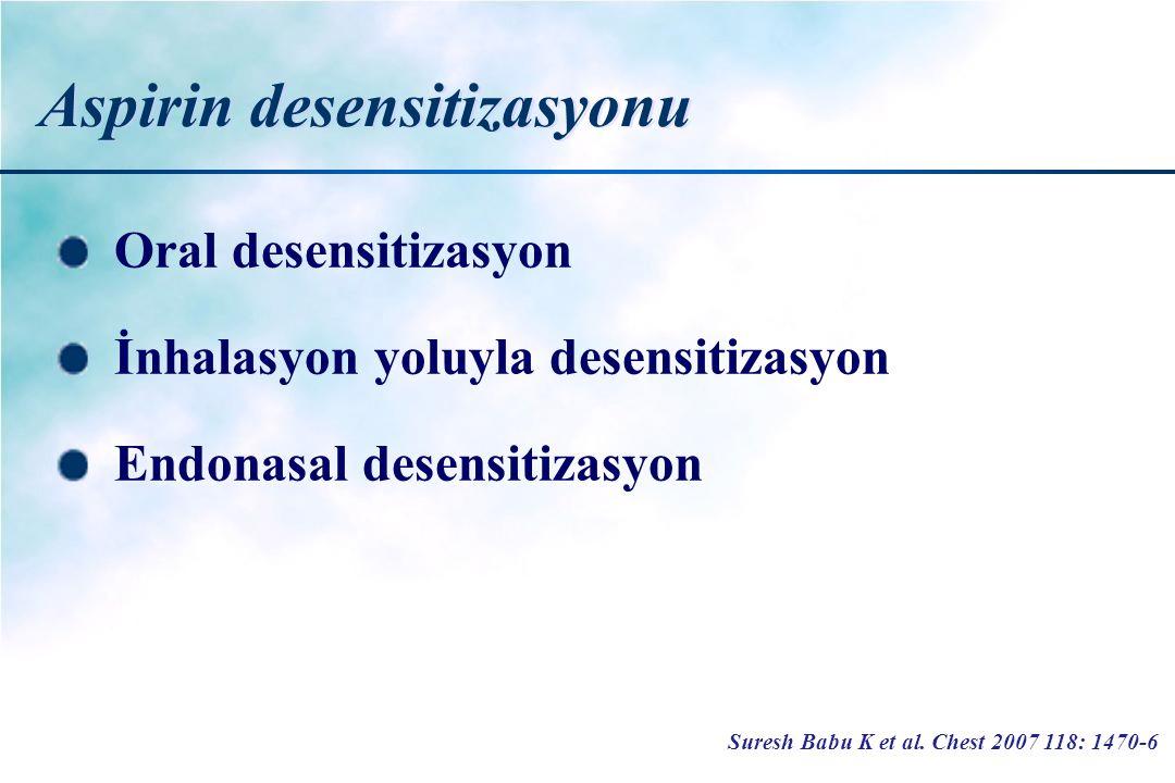 Aspirin desensitizasyonu Oral desensitizasyon İnhalasyon yoluyla desensitizasyon Endonasal desensitizasyon Suresh Babu K et al. Chest 2007 118: 1470-6