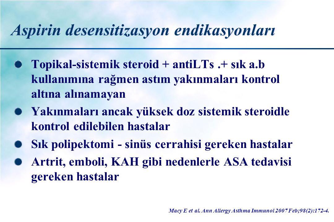Aspirin desensitizasyon endikasyonları Topikal-sistemik steroid + antiLTs.+ sık a.b kullanımına rağmen astım yakınmaları kontrol altına alınamayan Yak