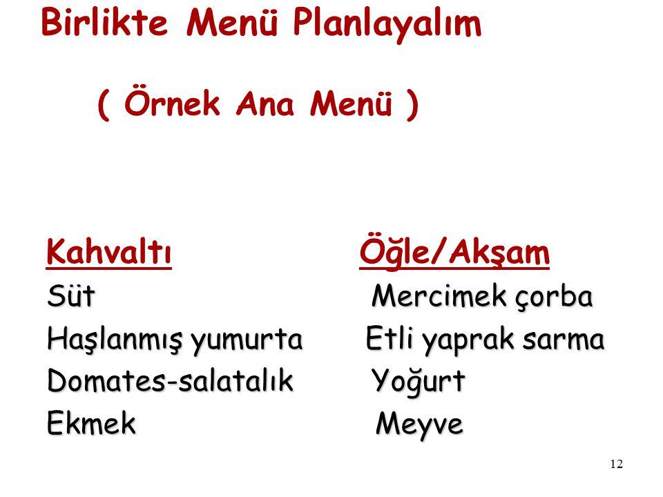 12 Birlikte Menü Planlayalım ( Örnek Ana Menü ) Kahvaltı Öğle/Akşam Süt Mercimek çorba Haşlanmış yumurta Etli yaprak sarma Domates-salatalık Yoğurt Ek