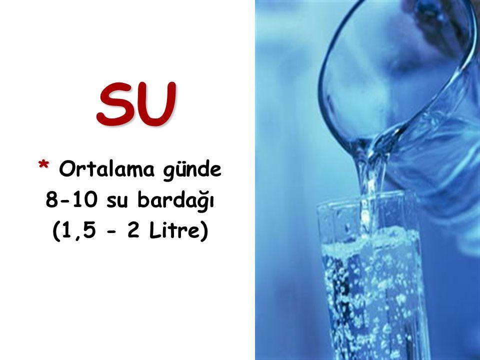 4 SU * * Ortalama günde 8-10 su bardağı (1,5 - 2 Litre)