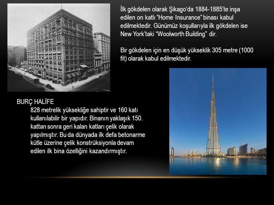 """İlk gökdelen olarak Şikago'da 1884-1885'te inşa edilen on katlı """"Home Insurance"""" binası kabul edilmektedir. Günümüz koşullarıyla ilk gökdelen ise New"""