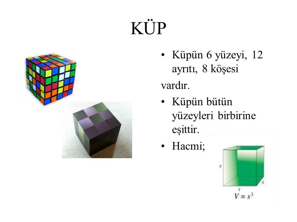 KÜP Küpün 6 yüzeyi, 12 ayrıtı, 8 köşesi vardır. Küpün bütün yüzeyleri birbirine eşittir. Hacmi;