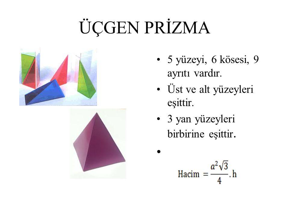 ÜÇGEN PRİZMA 5 yüzeyi, 6 kösesi, 9 ayrıtı vardır. Üst ve alt yüzeyleri eşittir. 3 yan yüzeyleri birbirine eşittir.