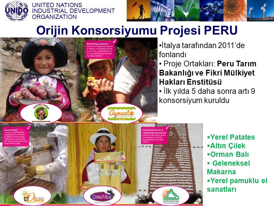 UNITED NATIONS INDUSTRIAL DEVELOPMENT ORGANIZATION Orijin Konsorsiyumu Projesi PERU İtalya tarafından 2011'de fonlandı Proje Ortakları: Peru Tarım Bak