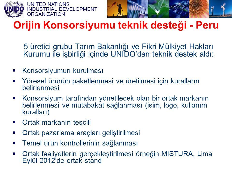 UNITED NATIONS INDUSTRIAL DEVELOPMENT ORGANIZATION 5 üretici grubu Tarım Bakanlığı ve Fikri Mülkiyet Hakları Kurumu ile işbirliği içinde UNIDO'dan tek