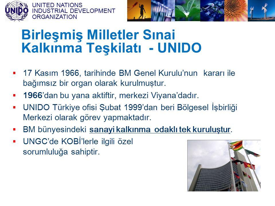 UNITED NATIONS INDUSTRIAL DEVELOPMENT ORGANIZATION UNIDO - BM Sınai Kalkınma Teşkilatı  UNIDO'nun amacı sürdürülebilir endüstriyel kalkınmanın gelişimi ve bu yolla gelişmekte olan ve geçiş ekonomisi ülkelerde yoksulluğun azaltılmasıdır.