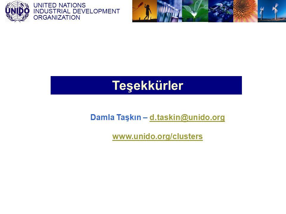 UNITED NATIONS INDUSTRIAL DEVELOPMENT ORGANIZATION Teşekkürler Damla Taşkın – d.taskin@unido.orgd.taskin@unido.org www.unido.org/clusters