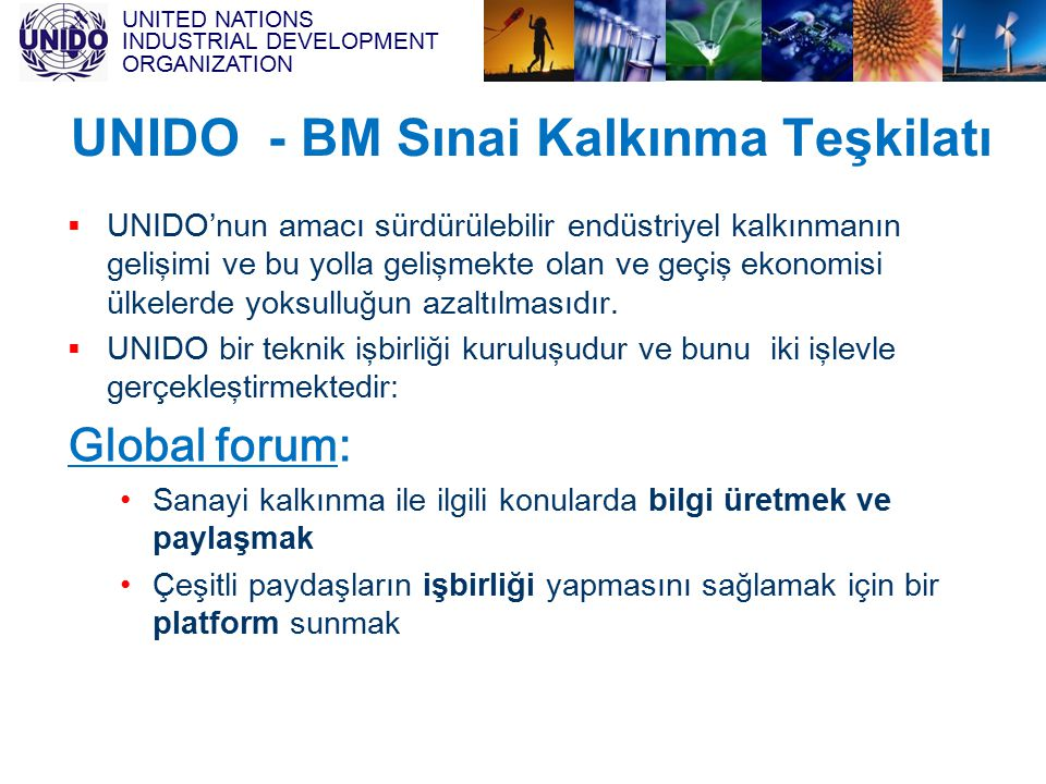 UNITED NATIONS INDUSTRIAL DEVELOPMENT ORGANIZATION UNIDO - BM Sınai Kalkınma Teşkilatı  UNIDO'nun amacı sürdürülebilir endüstriyel kalkınmanın gelişi
