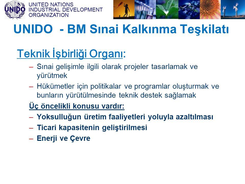 UNITED NATIONS INDUSTRIAL DEVELOPMENT ORGANIZATION UNIDO - BM Sınai Kalkınma Teşkilatı Teknik İşbirliği Organı: –Sınai gelişimle ilgili olarak projele