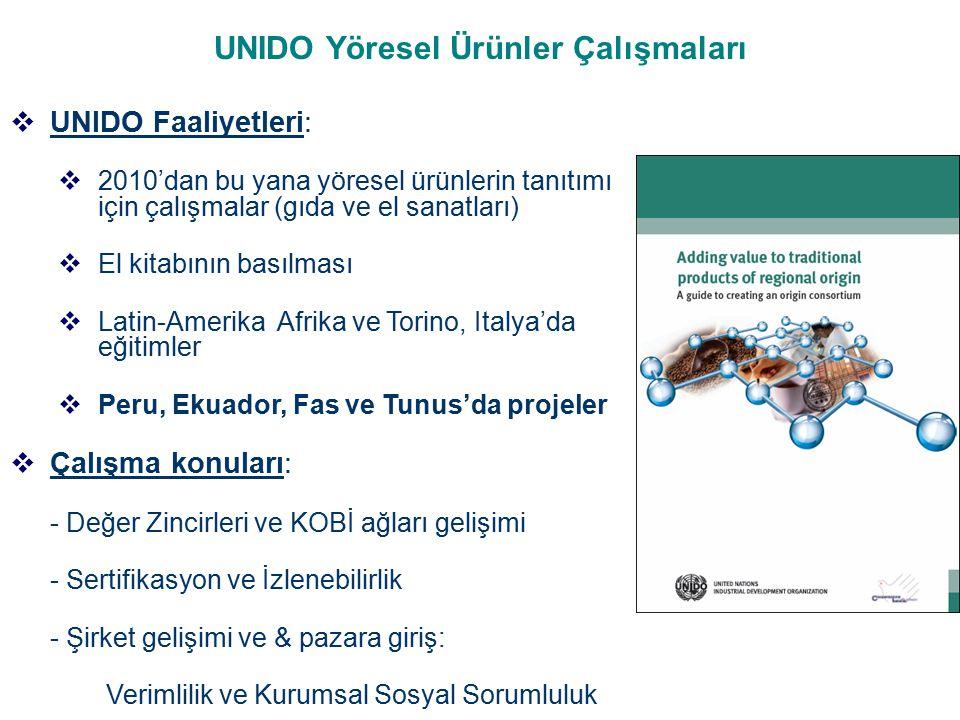 UNITED NATIONS INDUSTRIAL DEVELOPMENT ORGANIZATION  Coğrafi İşaretler çok önemli bir araçtır ancak yöresel ve özel bir ürünün değerinin artabilmesi için nihai hedef değildir  Coğrafi işaretler kırsal üreticilerin yaşam şartlarını iyileştirmelerine bölgesel kalkınmaya dair kapsamlı bir yaklaşım ile faydalı olabilecektir  UNIDO ülkelere kapsayıcı ve sürdürülebilir kalkınma çabalarında yöresel ürünlerle ilgili projelerle başarıyla destek olmaktadır.