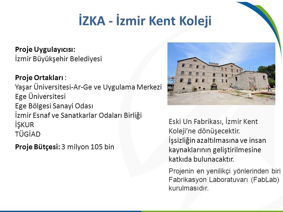 Proje Uygulayıcısı: İzmir Büyükşehir Belediyesi Proje Ortakları : Yaşar Üniversitesi-Ar-Ge ve Uygulama Merkezi Ege Üniversitesi Ege Bölgesi Sanayi Oda