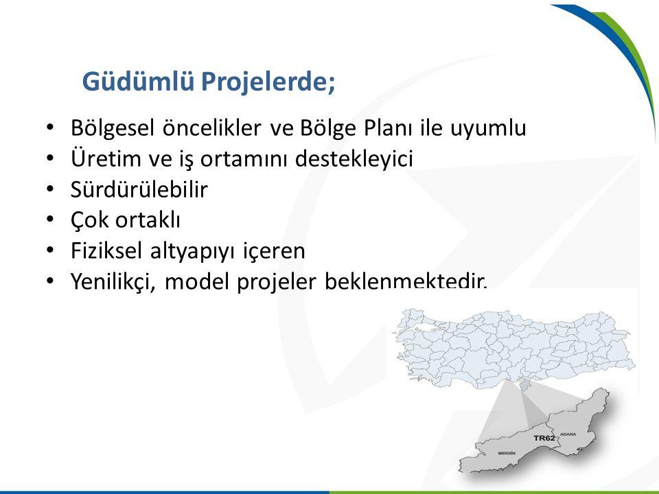 Bölgesel öncelikler ve Bölge Planı ile uyumlu Üretim ve iş ortamını destekleyici Sürdürülebilir Çok ortaklı Fiziksel altyapıyı içeren Yenilikçi, model