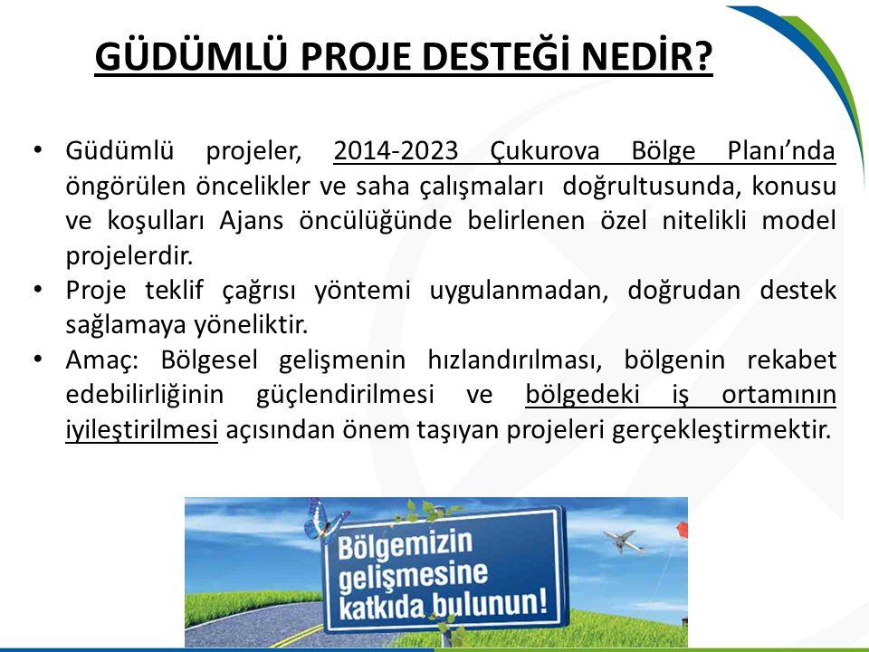 GÜDÜMLÜ PROJE DESTEĞİ NEDİR? Güdümlü projeler, 2014-2023 Çukurova Bölge Planı'nda öngörülen öncelikler ve saha çalışmaları doğrultusunda, konusu ve ko