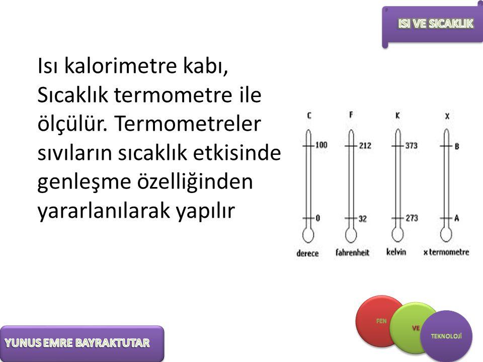 Isı kalorimetre kabı, Sıcaklık termometre ile ölçülür. Termometreler sıvıların sıcaklık etkisinde genleşme özelliğinden yararlanılarak yapılır