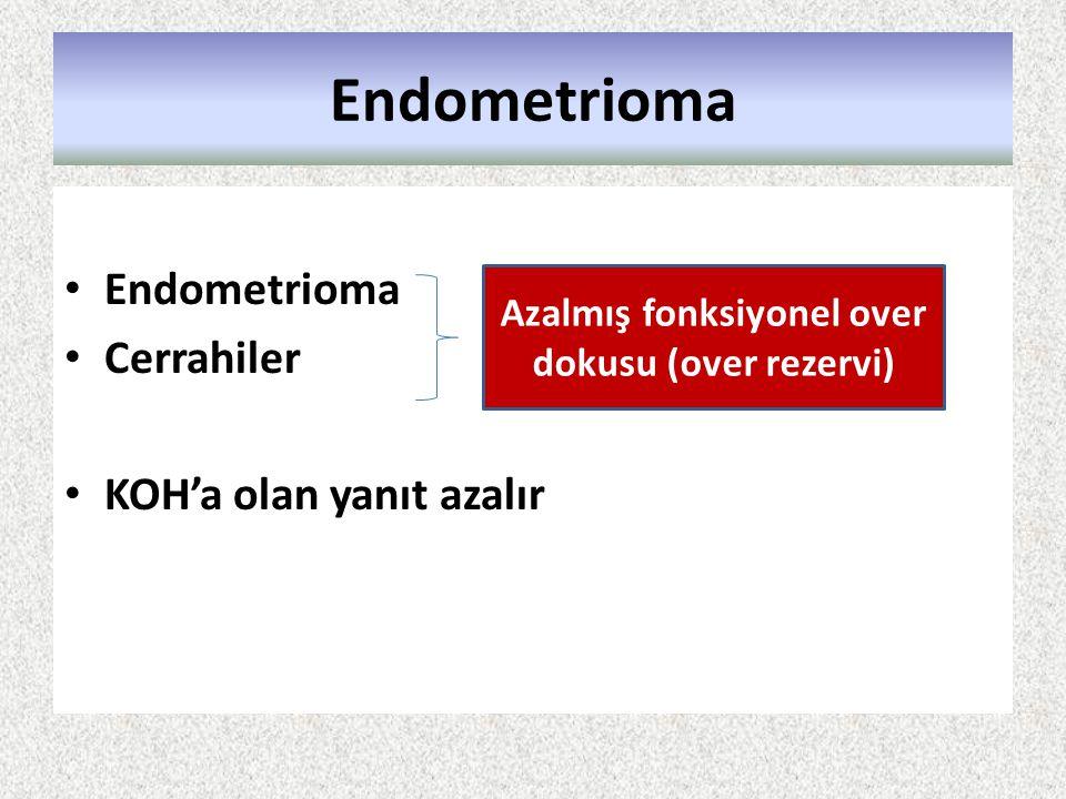 Endometrioma Cerrahiler KOH'a olan yanıt azalır Azalmış fonksiyonel over dokusu (over rezervi)
