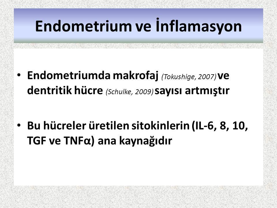 Endometrium ve İnflamasyon Endometriumda makrofaj (Tokushige, 2007) ve dentritik hücre (Schulke, 2009) sayısı artmıştır Bu hücreler üretilen sitokinle