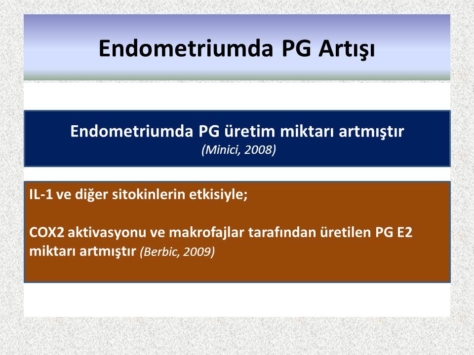 Endometriumda PG Artışı Endometriumda PG üretim miktarı artmıştır (Minici, 2008) IL-1 ve diğer sitokinlerin etkisiyle; COX2 aktivasyonu ve makrofajlar