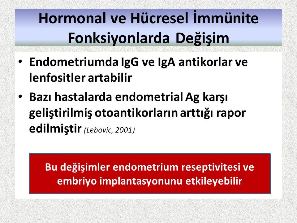Hormonal ve Hücresel İmmünite Fonksiyonlarda Değişim Endometriumda IgG ve IgA antikorlar ve lenfositler artabilir Bazı hastalarda endometrial Ag karşı