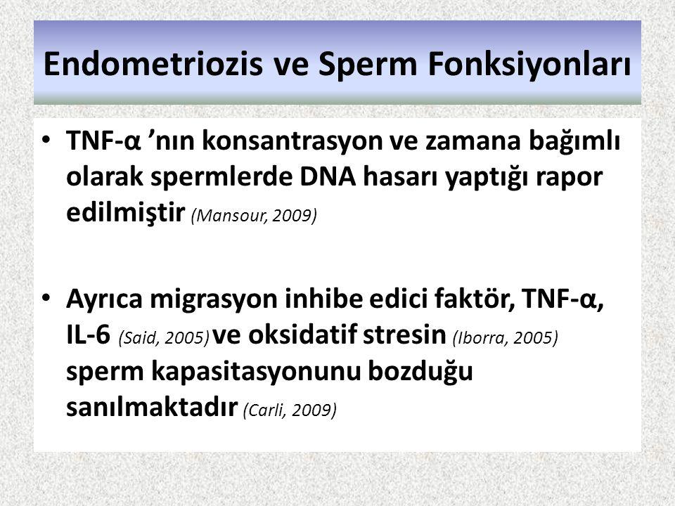 Endometriozis ve Sperm Fonksiyonları TNF-α 'nın konsantrasyon ve zamana bağımlı olarak spermlerde DNA hasarı yaptığı rapor edilmiştir (Mansour, 2009)