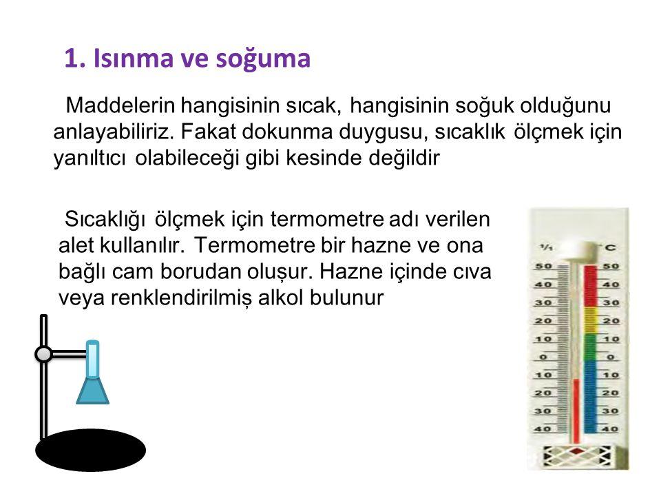 1. Isınma ve soğuma Maddelerin hangisinin sıcak, hangisinin soğuk olduğunu anlayabiliriz. Fakat dokunma duygusu, sıcaklık ölçmek için yanıltıcı olabil