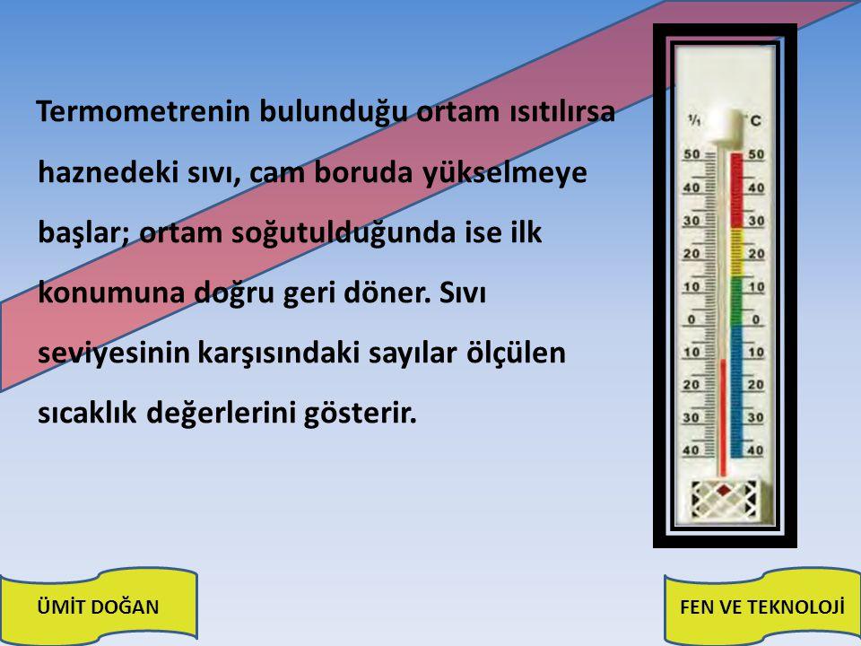 ÜMİT DOĞANFEN VE TEKNOLOJİ Termometrenin bulunduğu ortam ısıtılırsa haznedeki sıvı, cam boruda yükselmeye başlar; ortam soğutulduğunda ise ilk konumun