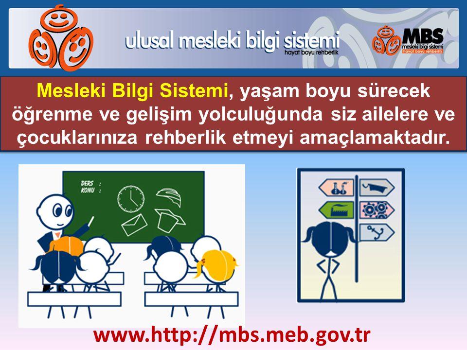Mesleki Bilgi Sistemi, yaşam boyu sürecek öğrenme ve gelişim yolculuğunda siz ailelere ve çocuklarınıza rehberlik etmeyi amaçlamaktadır. www.http://mb