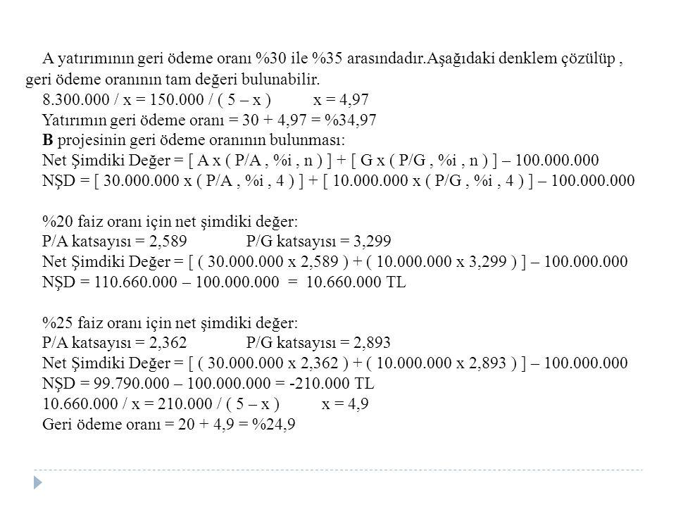 A yatırımının geri ödeme oranı %30 ile %35 arasındadır.Aşağıdaki denklem çözülüp, geri ödeme oranının tam değeri bulunabilir. 8.300.000 / x = 150.000
