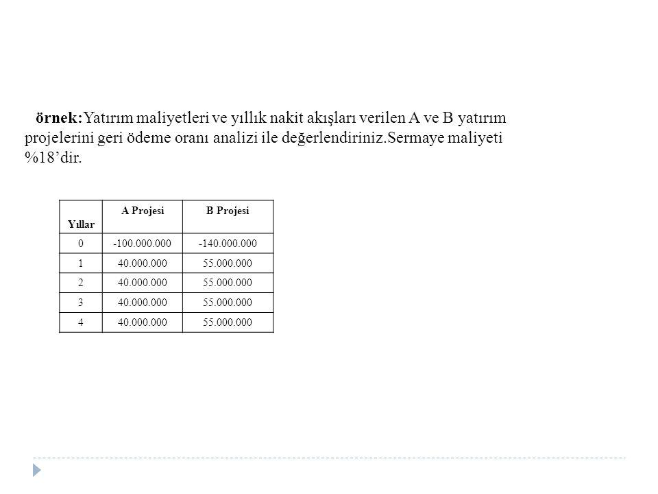 örnek:Yatırım maliyetleri ve yıllık nakit akışları verilen A ve B yatırım projelerini geri ödeme oranı analizi ile değerlendiriniz.Sermaye maliyeti %1